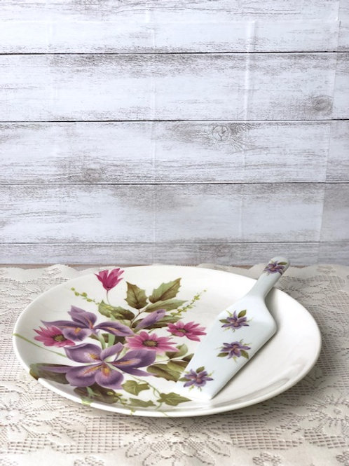 Painted Floral China Cake & Desert Dish