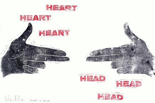 "13x40"" / ""Head V. Heart"" / ORIGINAL Woodcut on Printmaking Paper"