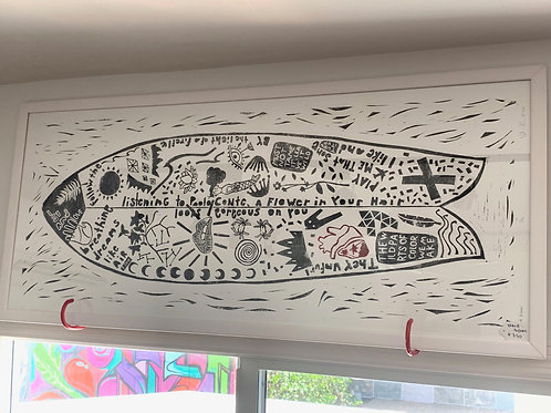 "20x48"" / ""Wash-Ashore"" / ORIGINAL Linocut on Printmaking Paper"