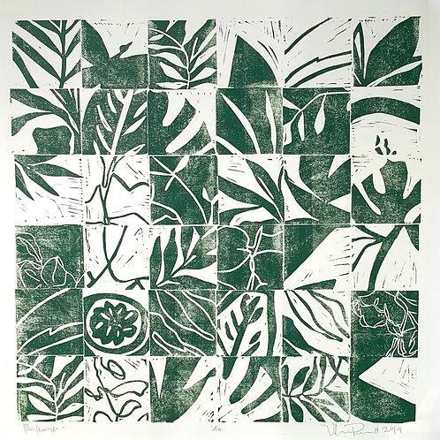 "18x18"" / ""Psithurism"" / ORIGINAL Linocut on Printmaking Paper"