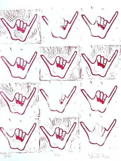 "18x24"" / ""Shaka"" / ORIGINAL Linocut on Printmaking Paper"