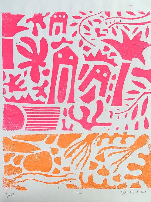 "16x20"" / ""Sunset"" / ORIGINAL Linocut on Printmaking Paper"