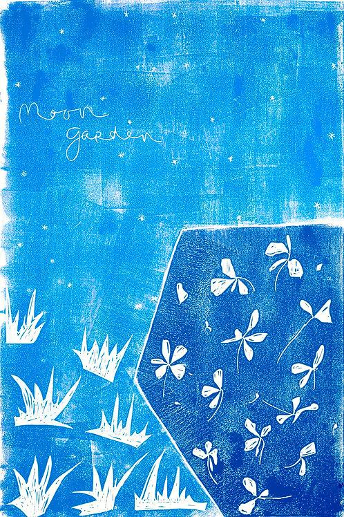 "24x36""/ ""Summer Night in the Garden"" / ORIGINAL Woodcut on Printmaking Paper"