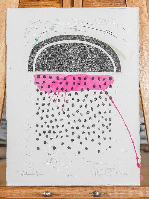 "12x16"" / ""'Water'-Melon"" / ORIGINAL Watercolor & Linocut on Printmaking Paper"