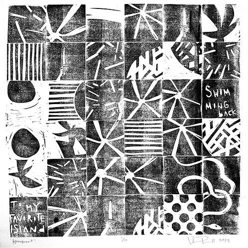 "18x18"" / ""Atonement"" / ORIGINAL Linocut on Printmaking Paper"
