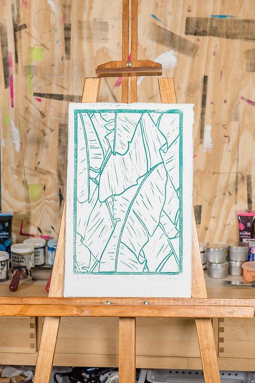 "11x17"" / ""Secret Beach"" / ORIGINAL Linocut on Printmaking Paper"