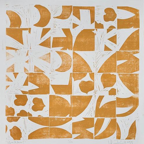 "18x18"" / ""Where to, Miss?"" / ORIGINAL Linocut on Printmaking Paper"