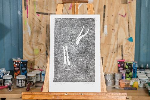 "11x17"" / ""Sandbar Olympics"" / ORIGINAL Linocut on Printmaking Paper"