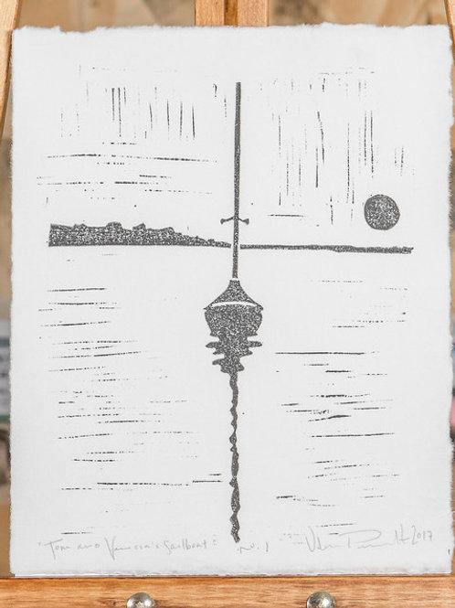 "8x10"" / ""Tom and Vanessa's Sailboat"" / ORIGINAL Linocut on Printmaking Paper"