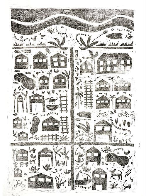 "23x32"" / ""Beach Rd."" / ORIGINAL Linocut on Printmaking Pap"