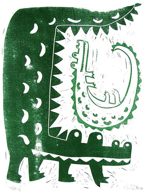 "18x24"" / ""Nesting"" / ORIGINAL Linocut on Printmaking Paper"