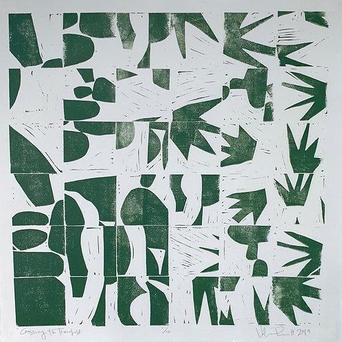 "18x18"" / ""Crossing the Threshold"" / ORIGINAL Linocut on Printmaking Paper"