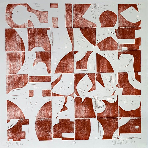 "18x18"" / ""Lunar Phases"" / ORIGINAL Linocut on Printmaking Paper"