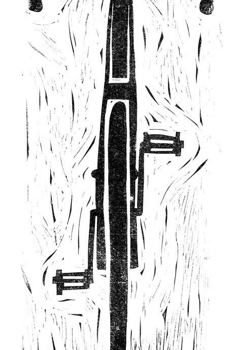 """13x32 / """"Ride or Die"""" / ORIGINAL Linocut on Printmaking Paper"""