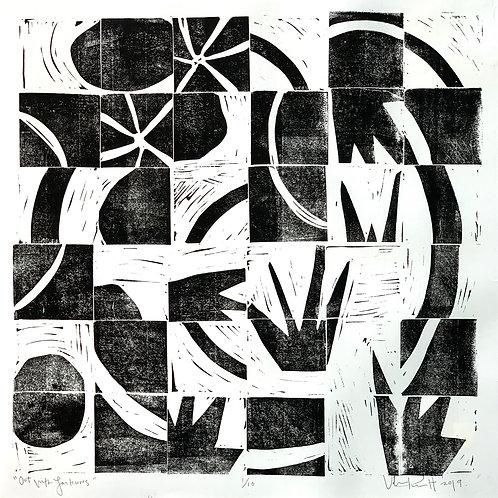 "18x18"" / ""Out With Lanterns"" / ORIGINAL Linocut on Printmaking Paper"