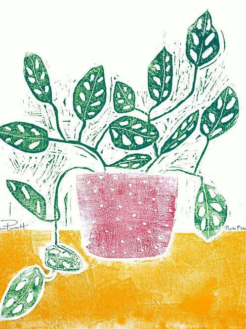"""18x24""""/ """"Pink Planter"""" / ORIGINAL Woodcut on Printmaking Paper"""