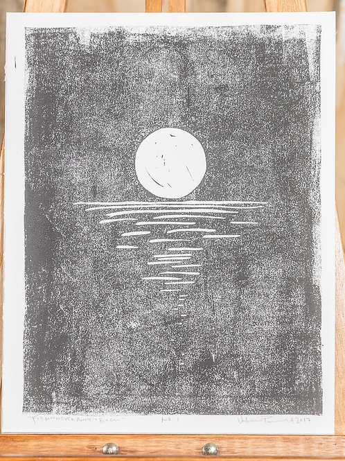 "11x14 / ""Full Moon Over Anne's Beach"" / ORIGINAL Linocut on Mulberry Paper"