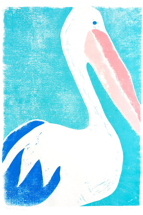 "23x32"" / ""Pelican at Angler House"" / ORIGINAL Linocut on Printmaking Paper"