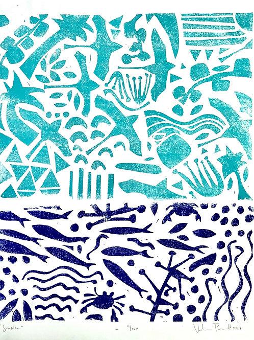 "16x20"" / ""Sunrise"" / ORIGINAL Linocut on Printmaking Paper"