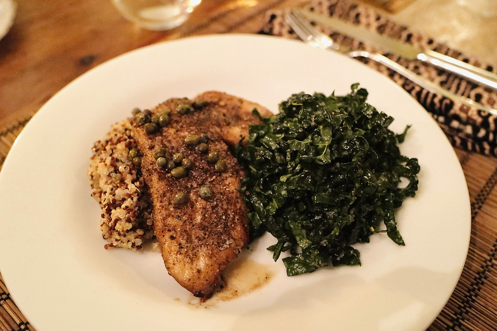 pan roasted triggerfish and the famed kale salad from the Six Seasons cookbook