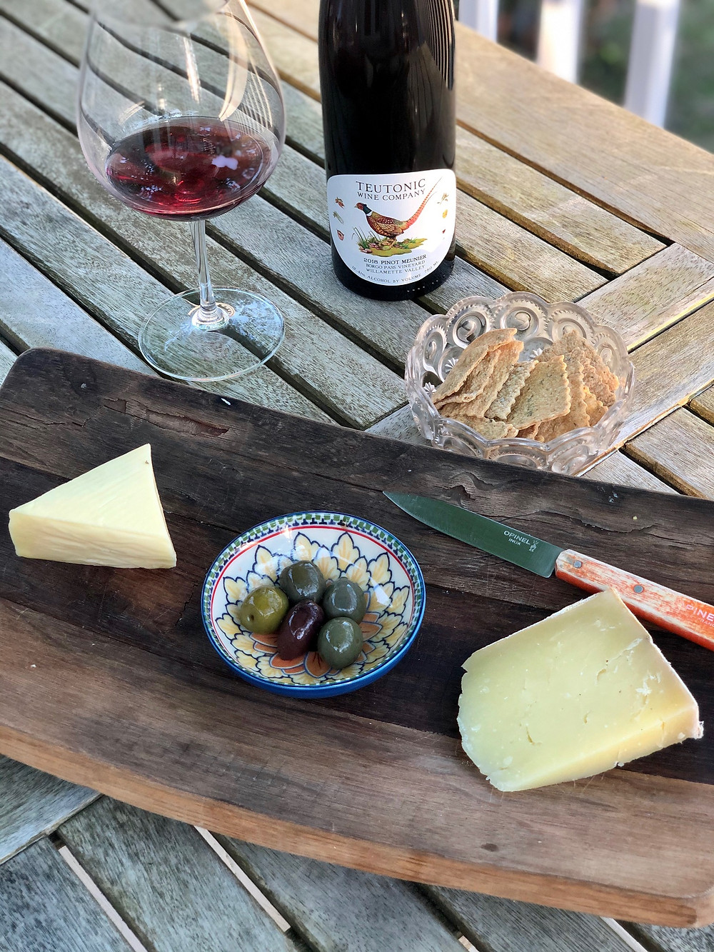 Teutonic Pinot Meunier, natural wine from Oregon, cheese board, cherishing precious moments during COVID crisis