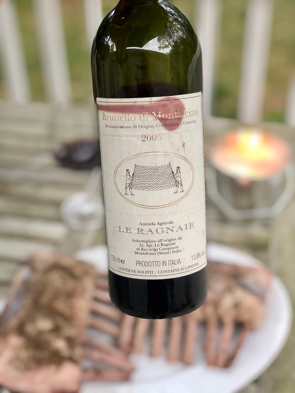 Le Ragnaie Brunello di Montalcino with grilled rack of lamb