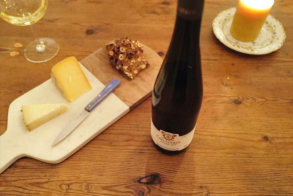 Carl Loewen Maximin Klosterlay 2019 -- dry Riesling from the Nahe region and specifically from the very historic site of Maximin Klosterlay (it dates back to Medieval times)!