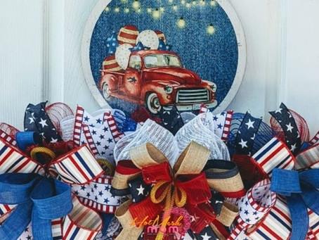 DIY Red Patriotic Truck Wreath Rail