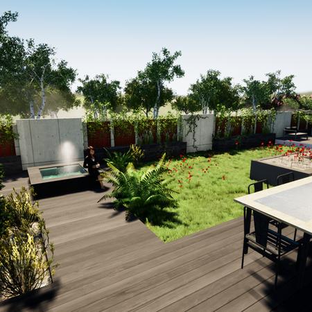 Maquette 3D d'un jardin comtenporain