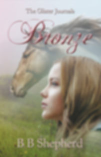 The book cover of Bronze, a running horse against a bronze background