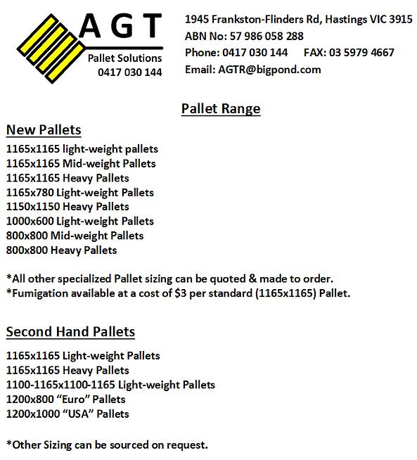 pallets dandenong AGT