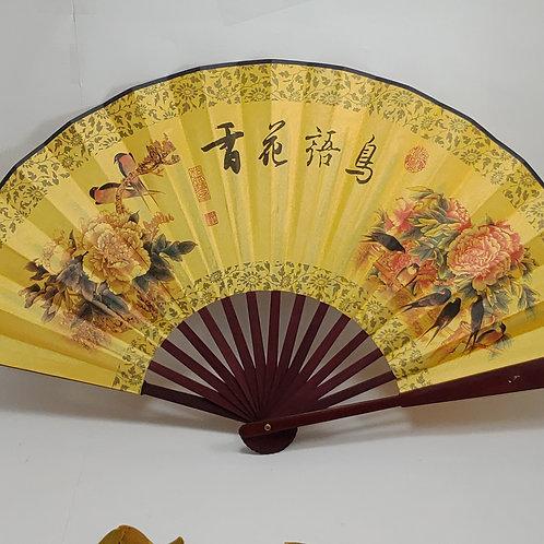 Leque de Bambu Floral e Oriental Decorativo