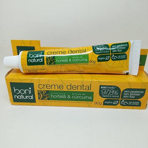 Creme Dental Boni Natural Hortelã e Cúrcuma 90g Vegano