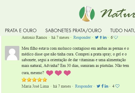 Depoimento sobre Prata Coloidal e Naturals Brazil