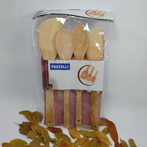 Jogo de Utensílios de Bambu Para Cozinhar