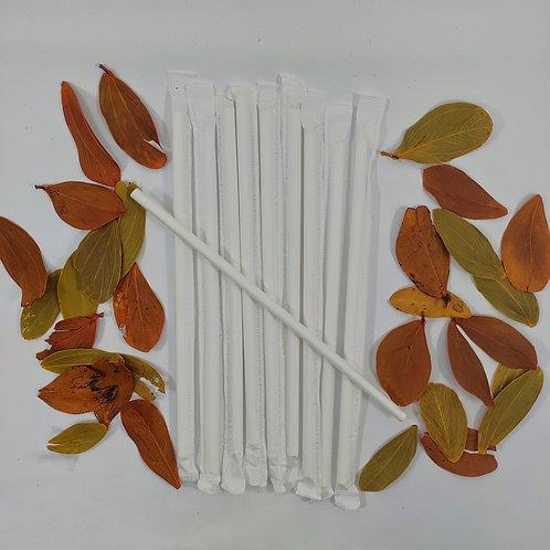 10 Canudos Ecológico Papel Branco Biodegradável embalados individualmente