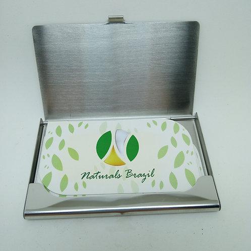 Porta Cartão Aço Inox Com Trava
