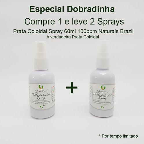 Dobradinha - Prata Coloidal Spray 100Ppm 60ml Naturals Brazil  Compre 1 leve 2