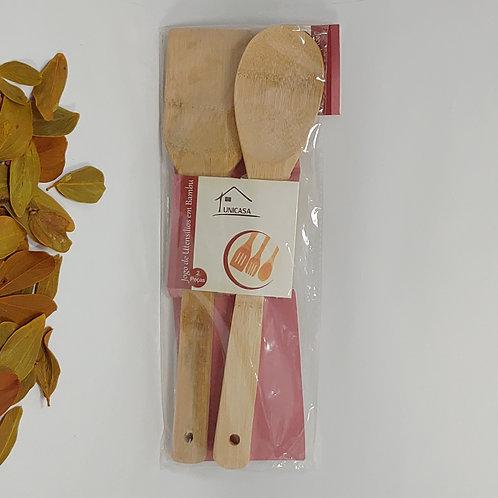 Kit Colher + Espátula de Bambu Para Cozinhar