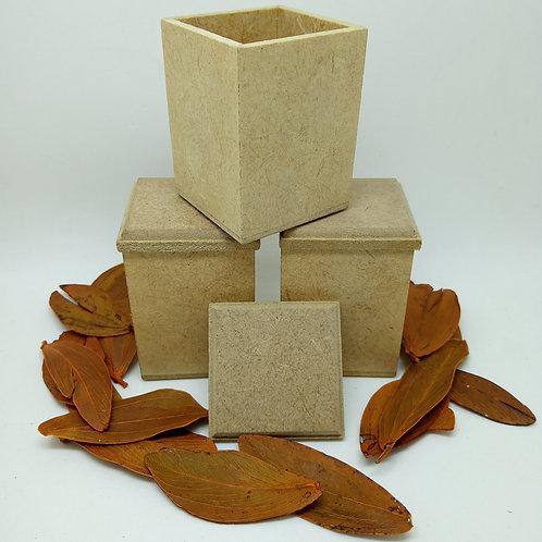 3 Mini Caixas de MDF Cru para Artesanato 4x4x6cm