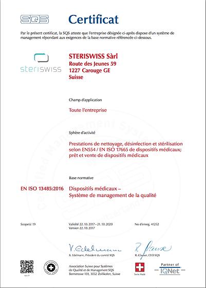 Certficat ISO 13485 steriswiss