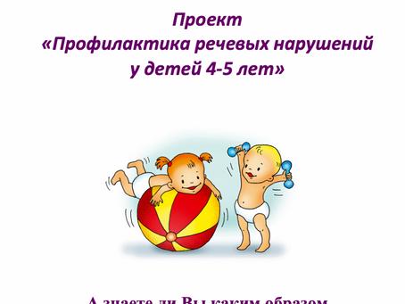 Проект  «Профилактика речевых нарушений  у детей 4-5 лет».