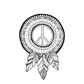 Peace Sign with Feathers