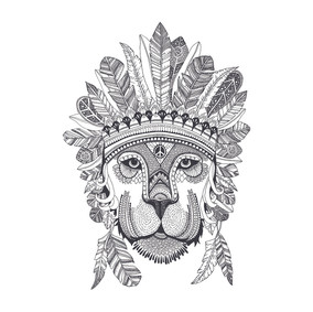 Lion wearing a feather crown
