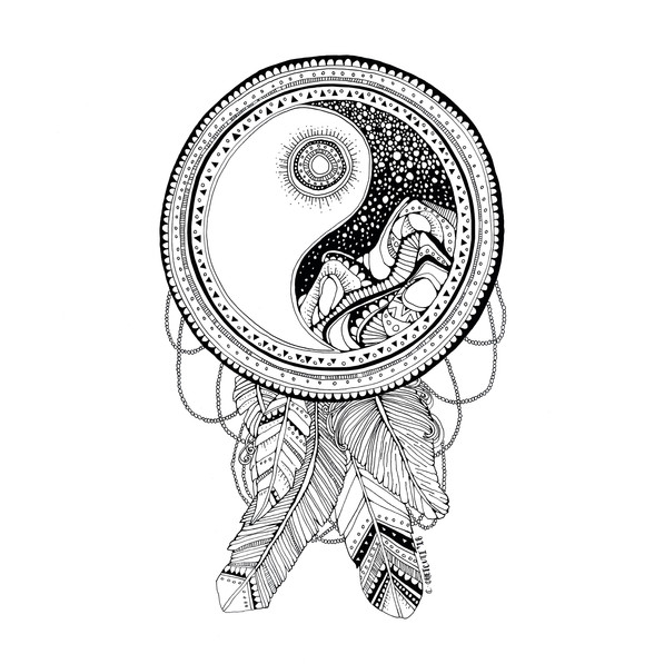 Yin & Yang Dream Catcher with Feathers