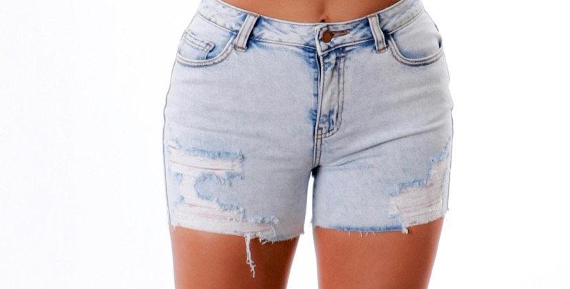 Stone Wash Distress Shorts