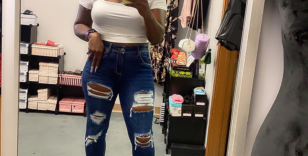 Fitted denim pants