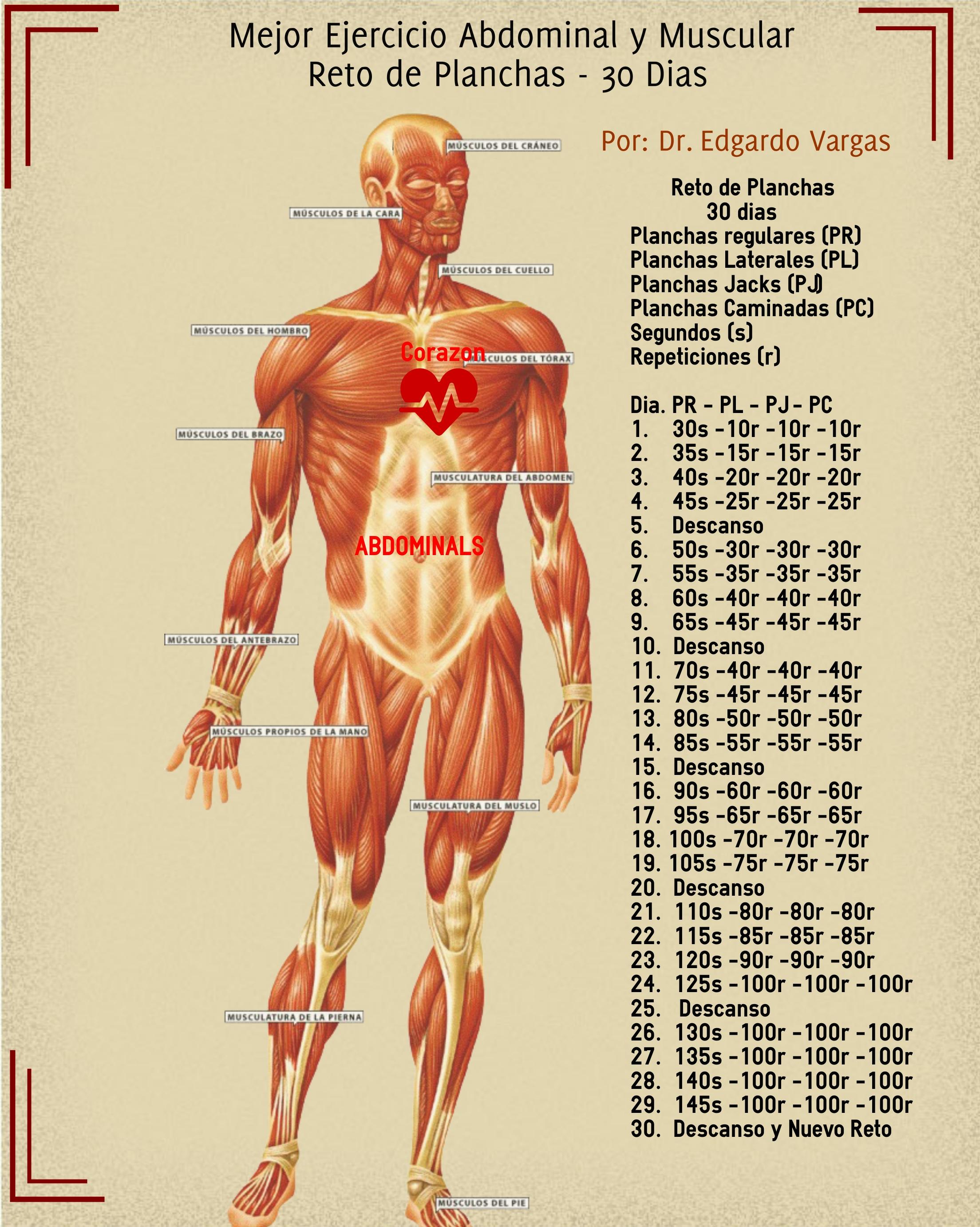 reto abdominales la plancha