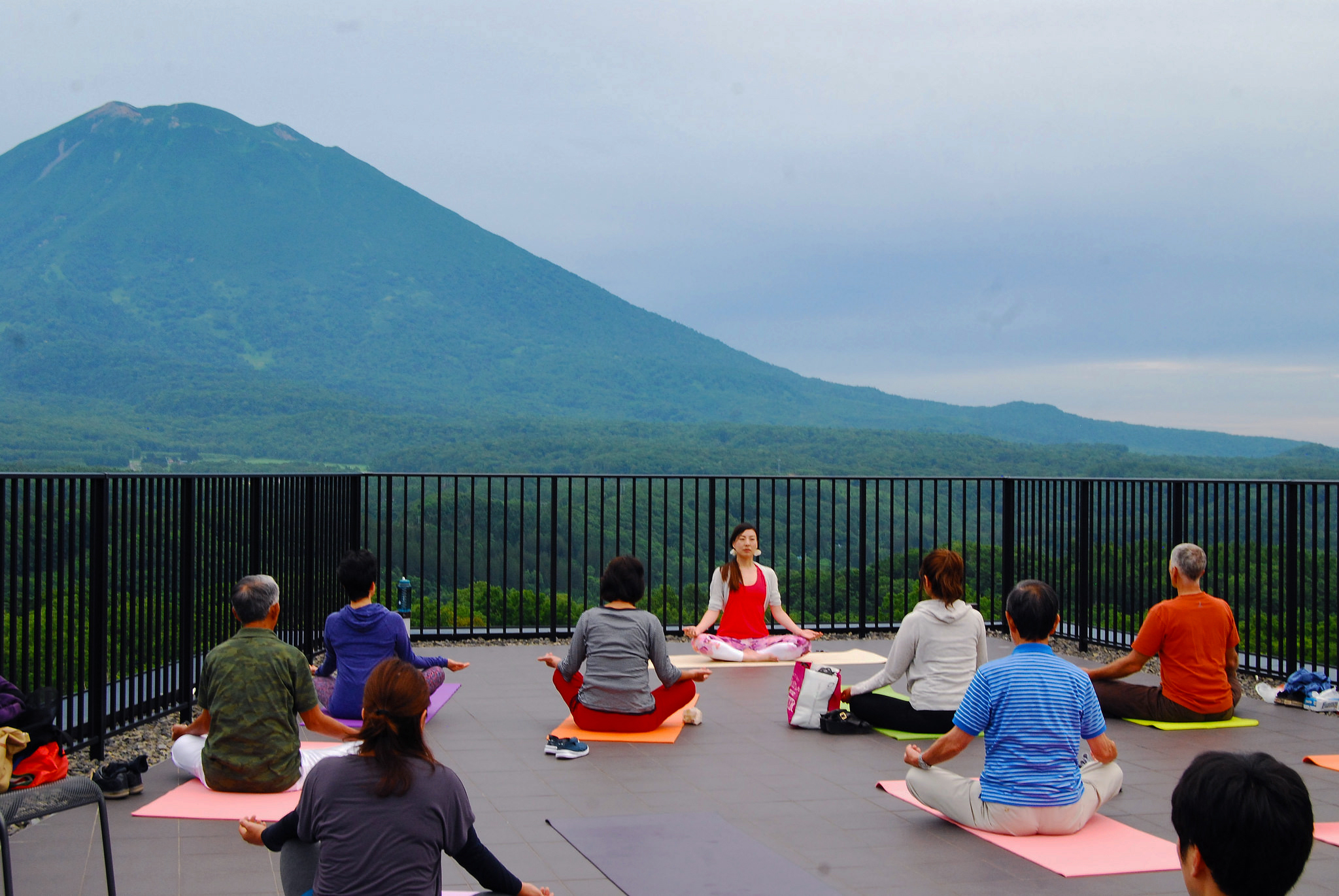 Sunset yoga session at Aspect Niseko