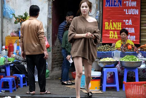 Going to market in Hanoi, Vietnam